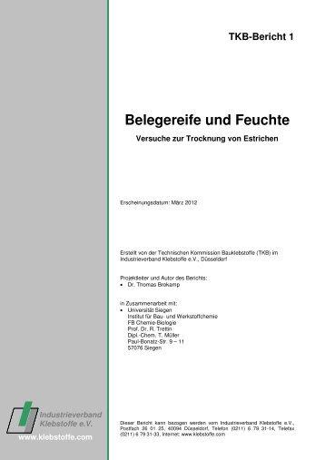 Belegereife und Feuchte - Industrieverband Klebstoffe e.V.