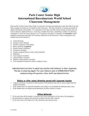 park center senior high code of conduct - Osseo Area Schools