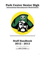 Park Center Senior High School 2012/2013 Conference Schedule