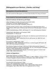 """Bibliographie zum Seminar """"Literatur und Krieg"""" - Zeitpfeil"""