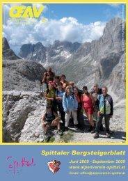 Spittaler Bergsteigerblatt Juni 2009 - Alpenverein Spittal/Drau