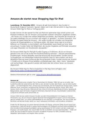 Amazon.de startet neue Shopping App für iPad
