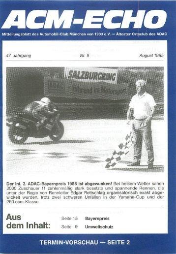 echo-1985-08 - ACM Automobilclub München von 1903 e. V.