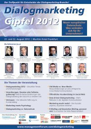 Gipfel 2012 Dialogmarketing - Management Forum der Verlagsgruppe ...
