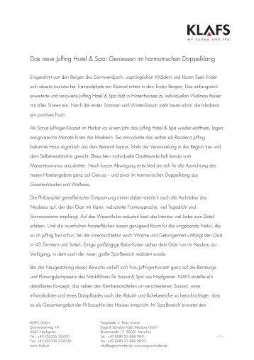Das neue Juffing Hotel & Spa: Geniessen im - Hotel & Spa Juffing