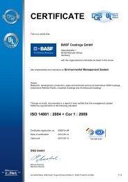 ISO 14001 : 2004 + Cor 1 - BASF Coatings
