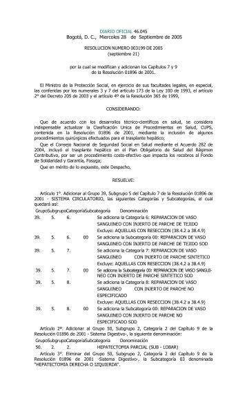 Resolución 3199 de 2005. - POS