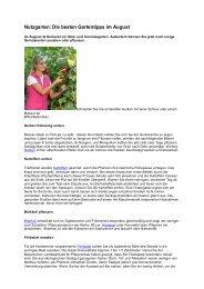 Die besten Gartentipps im August - Verein für Gartenbau und ...
