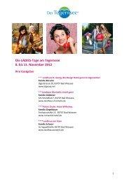 Die LADIES-Tage am Tegernsee 8. bis 11. November 2012