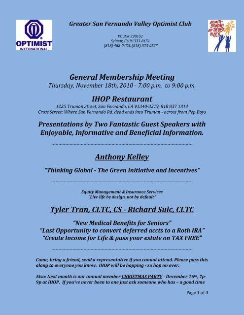General Membership Meeting IHOP Restaurant Anthony Kelley ...