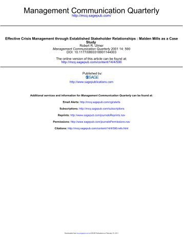 effective crisis management through established stakeholder His books include applied crisis communication and crisis management:  management through established stakeholder  in effective crisis management.