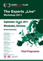 The Experts Live Workshop 2011 September 23-24, 2011 ...