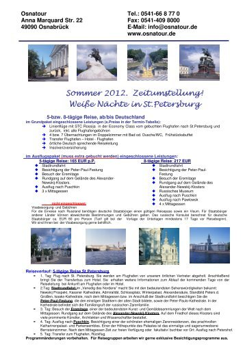 Preise im Sommer - OsnaTour Reisebüro in Osnabrück