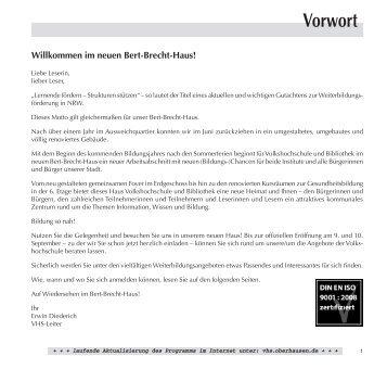 B Deutsch als Zweitsprache / Integration - VHS Oberhausen - Stadt ...