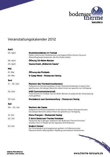 Veranstaltungskalender 2012 - Bodensee Therme Konstanz