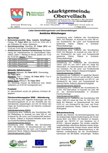 Amtliche Mitteilungen - Gemeinde Obervellach