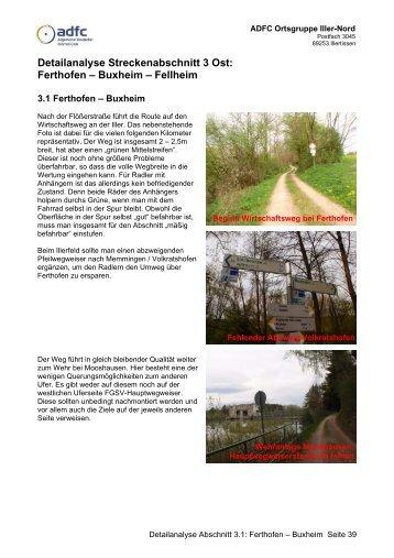Detailanalyse Streckenabschnitt 3 Ost - ADFC Ortsgruppe Iller-Nord