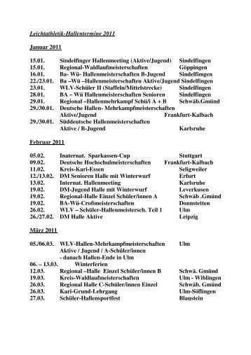 Bahntermine 2011 - Leichtathletikkreis Ulm/Alb-Donau