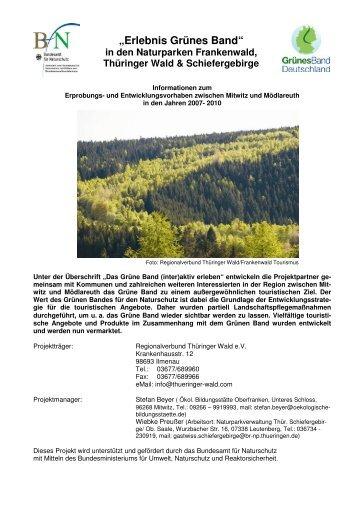 in den Naturparken Frankenwald, Thüringer Wald ... - Grünes Band