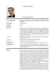 CURRICULUM VITAE Prof. Dr. Stephan PAULEIT Present ...