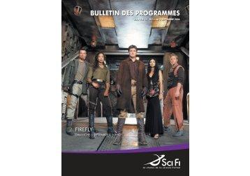 bulletin des programmes - SciFi-Universe