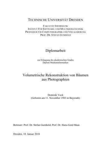 Diplomarbeit- Rekonstroktion von volumetrischen Baummodellen ...