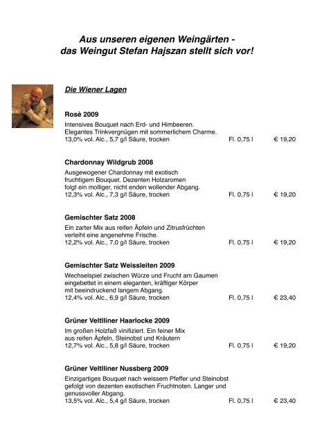 Aus unseren eigenen Weingärten - das Weingut Stefan Hajszan ...