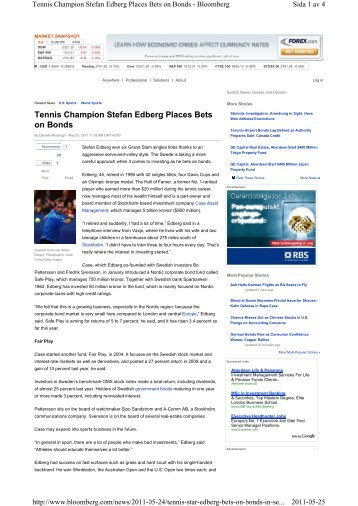Tennis Champion Stefan Edberg Places Bets on Bonds - Case