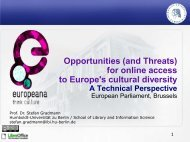(and Threats) for online access to Europe's cultural diversity