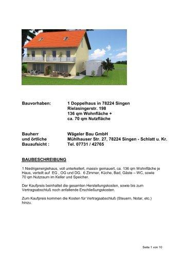Bauvorhaben: 1 Reihenhaus in Singen-Sch - Wägeler Bau GmbH