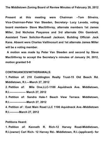 Middletown Zoning Board of Review - February 28, 2012