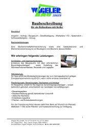 Baubeschreibung für ein Reihenhaus mit Keller - Wägeler Bau GmbH