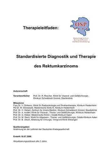 Standardisierte Diagnostik und Therapie des Rektumkarzinoms