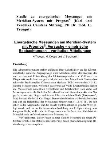 Studie zu energetischen Messungen am Meridian-System mit Prognos