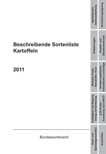 Beschreibende Sortenliste Kartoffeln 2011 - Bundessortenamt
