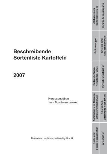 Beschreibende Sortenliste Kartoffeln 2007 - Bundessortenamt