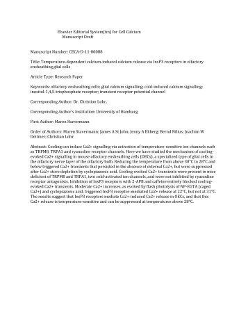 Elsevier Editorial System(tm) for Cell Calcium Manuscript Draft ...
