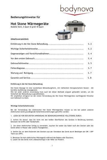 Hot Stone Wärmegeräte - Bodynova GmbH