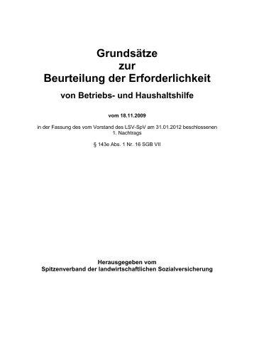 Grundsätze zur Beurteilung der Erforderlichkeit von Betriebs - Die ...