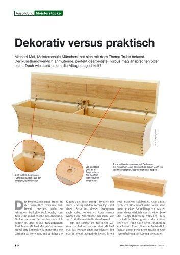 Dekorativ versus praktisch - Meisterschule Schreiner München