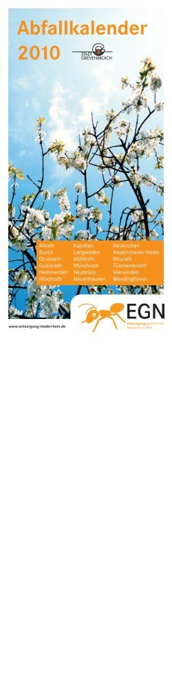Abfallkalender 2010 - EGN Entsorgungsgesellschaft Niederrhein mbH