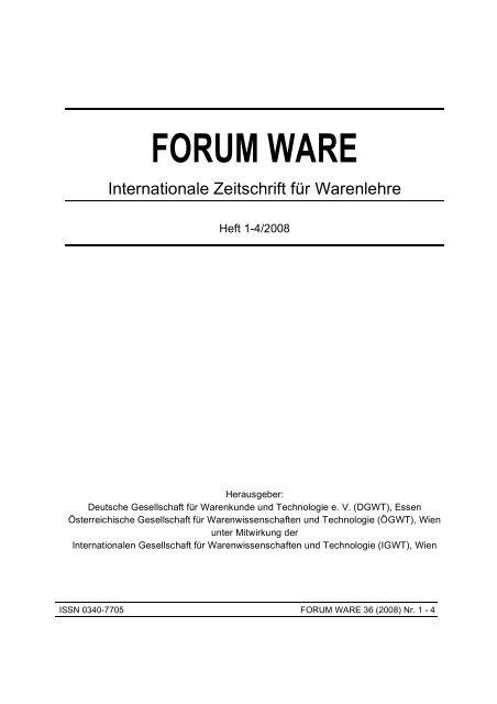 Deutsche Warenkunde- und Technologie-Tage - DGWT