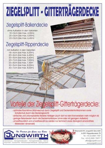 ZIEGELSPLITT-GITTERTRÄGERDECKE - Jungwirth