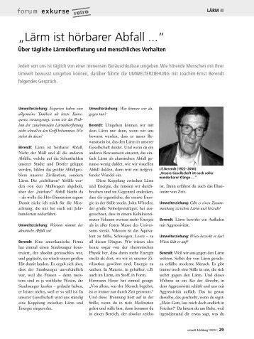 """""""Lärm ist hörbarer Abfall ..."""" - Forum Umweltbildung"""
