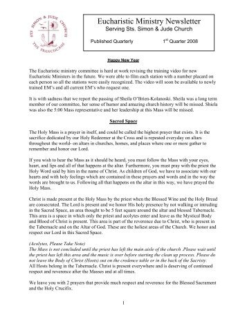 Eucharistic Ministry Newsletter - Sts. Simon & Jude