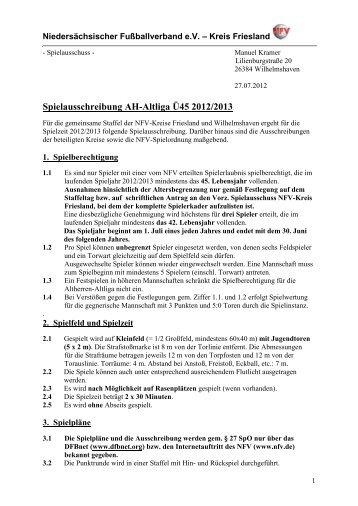 Spielausschreibung AH-Altliga Ü45 2012/2013