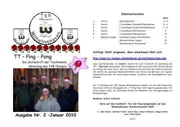Ausgabe Nr. 2 - Januar 2010 - TSR Olympia Wilhelmshaven