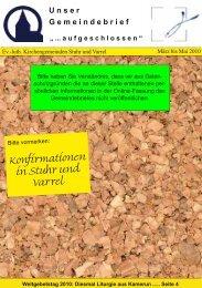 Gemeindebrief März bis Mai 2010 - Ev.-luth. Kirchengemeinde Varrel