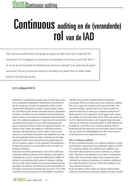 Continuous auditing en de (veranderde) rol van de IAD ... - Lime Tree