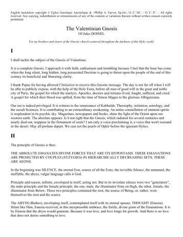The Valentinian Gnosis I II - Gnostique.Net